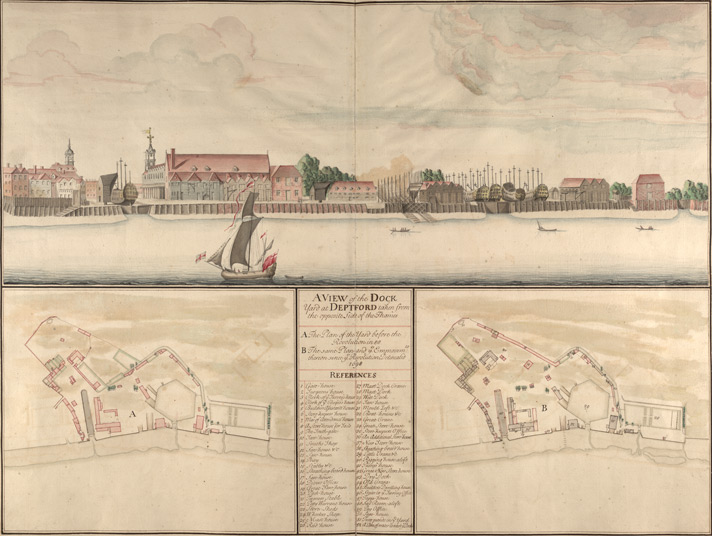 View of the Dockyard at Deptford Folios 65v 66